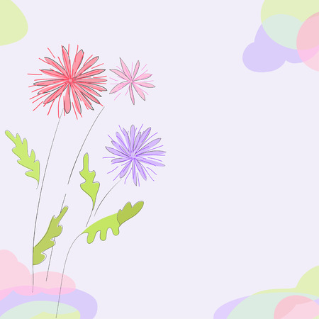Hand drawn flowers asters on pastel background. You can use a card, there is a space for your text or as a background