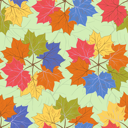 Seamless autumnal pattern with wreaths of maple leaves