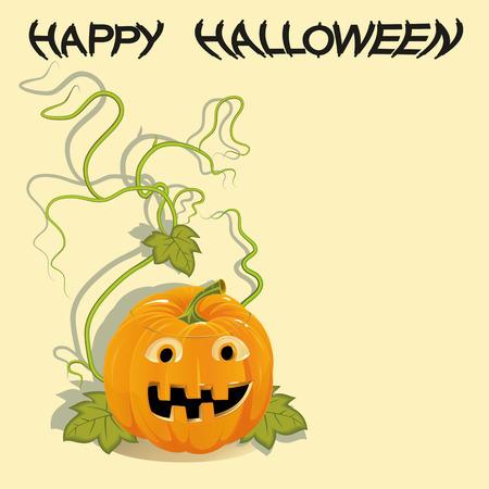 Greeting card with Halloween pumpkin