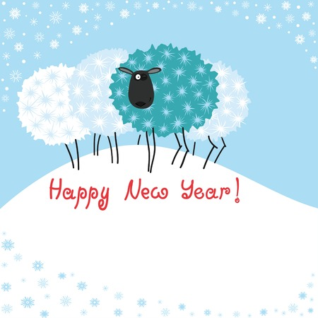 Greeting card with sheep