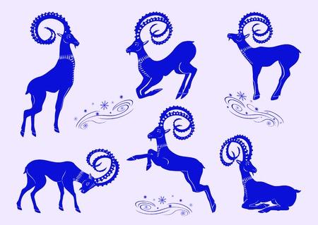 Set of blue mountain goats Illustration