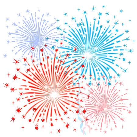 fireworks: Fuegos artificiales azules rojos