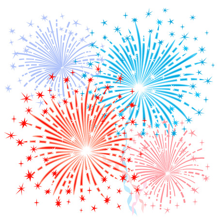 fourth july: Red blue fireworks