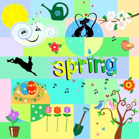 Funny spring background Illustration