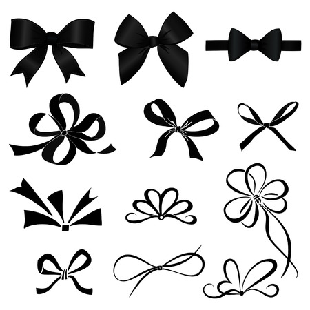 black satin: Set of bows