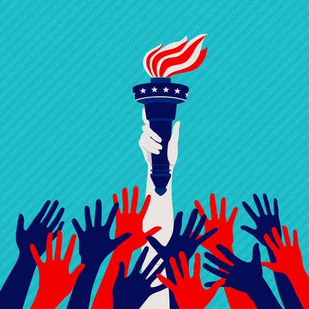 Reaching hands Statue of Liberty in the national colors, the concept of the American Dream Illustration