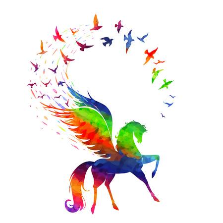 Het concept van de inspiratie, de Pegasus vliegende vleugels van vogels in de kleuren van de regenboog