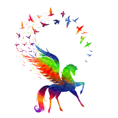 The concept of inspiration, the Pegasus flying wings of birds in rainbow of colors