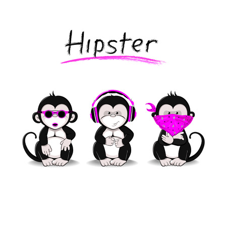 Three Monkeys symbolizing the idea of not seeing, not hearing, not speaking in a modern interpretation Ilustração