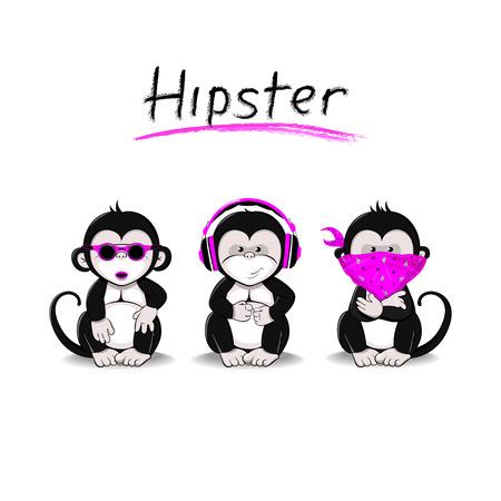 mono caricatura: Tres monos que simbolizan la idea de no ver, no oír, no hablar en una interpretación moderna