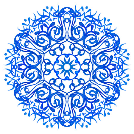Watercolor blue circular pattern in an Asian style on a white background