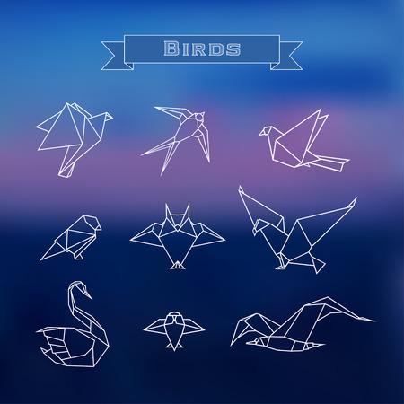 cisnes: Establecer pájaros de origami estilizadas de moda en un esbozo sobre un fondo borroso