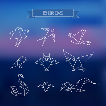 hawks: Set trendy stylized origami birds in a outline on a blurred background