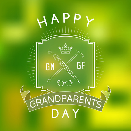 Green blurred background with a greeting and banner to the Day of Older Persons Illustration