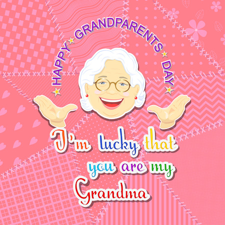 Greetings on grandparents day with the phrase and grandmother face on a pink background in patchwork style Hình minh hoạ