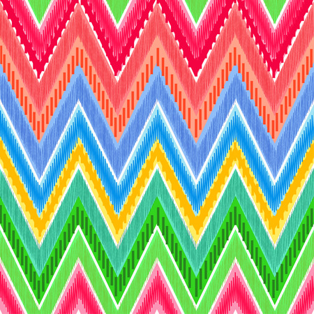 Ethnic zigzag in bright rainbow colours, can be used as a seamless pattern or background