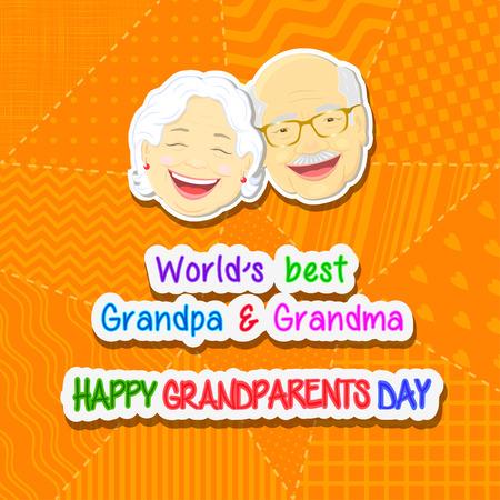 abuelos: Saludos a día de los abuelos con la frase y la cara de abuelo y abuela en un fondo azul en un estilo patchwork Vectores