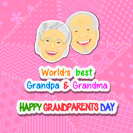 International grandparents day greeting and with faces grandmothers and grandfathers Asia on a pink background patchwork