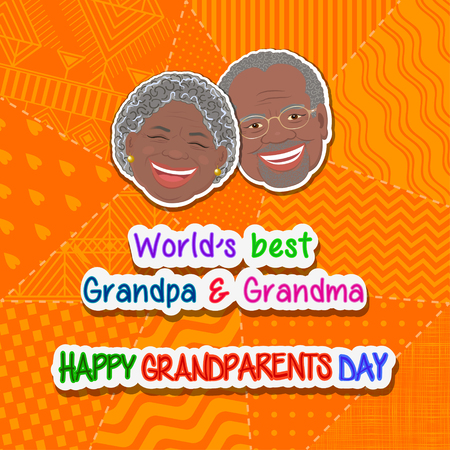 International grandparents day greeting and grandmother and grandfather Africans on an orange background patchwork