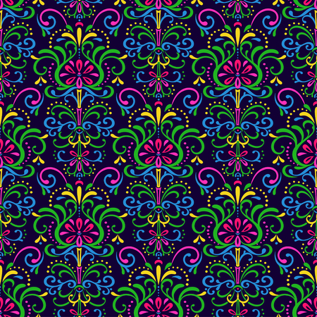 Seamless pattern of exotic flowers on a dark blue background