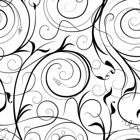 Black scribble swirling floral motifs on white, which can be used as a seamless pattern Illustration