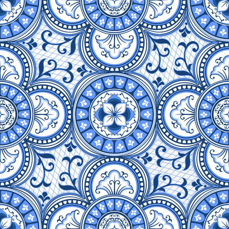 Blue and white ethnic ornamental seamless pattern can be used as a decorative tile