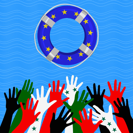 Hands colored in Near East countries flags reach to the lifebuoy symbolizing European Union