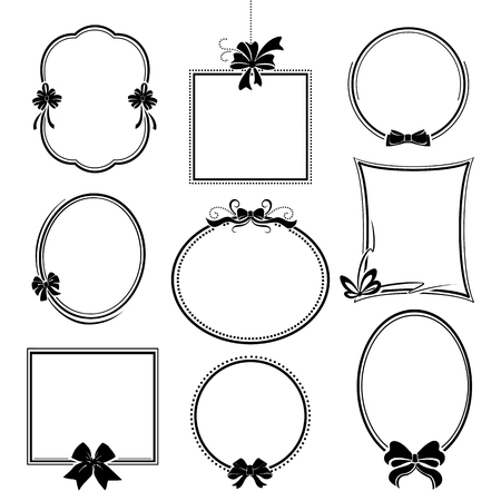 vintage elements of design, frames with decorative bows isolated on white background Illustration