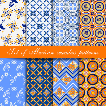 Set of seamless patterns in traditional mexican and south american style made in blue and yellow colours