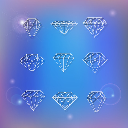 faceting: Set of polygonal diamonds on blur blue background with bokeh can be used as elements of design for logos creation Illustration