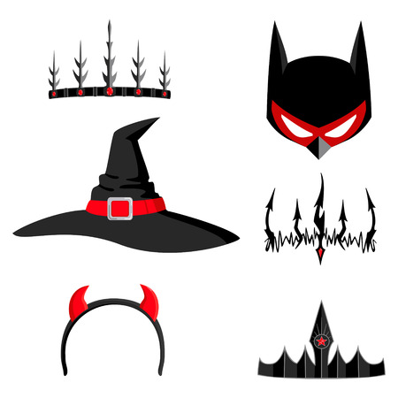 Set of design elements for halloween hats, crowns, horns, mask in black and red colors isolated on white background