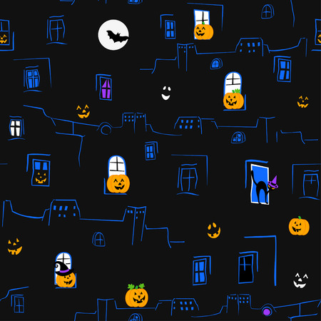 Outline of houses with pumpkins and cats background can be used as seamless pattern