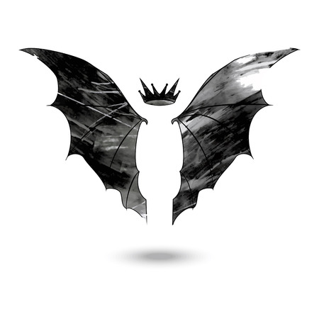 Wings of the bat with crown above made in a grunge style isolated on the white background
