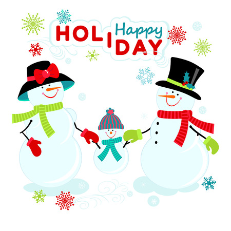 Snowman, snow woman and their child on the snoflakes background greeting with New Year