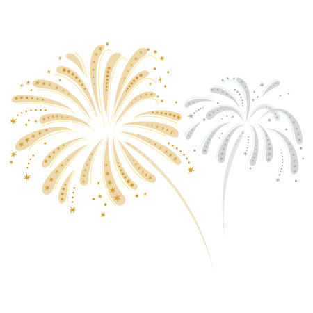 Expressive vector fireworks in silver and gold on a white background