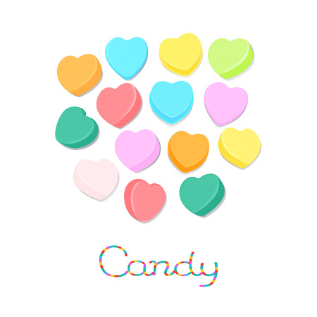 Rainbow colored candy hearts isolated on white background