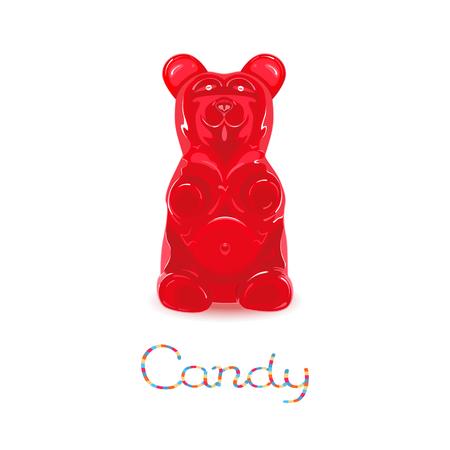 caramelos: Red gomosa dulces oso aislado en fondo blanco Vectores