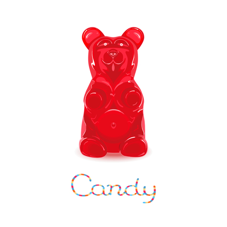 Gummy: Red gummy bear candy isolated on white background