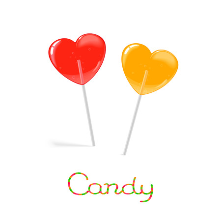 Rainbow heart shaped candies on the stick isolated on white background