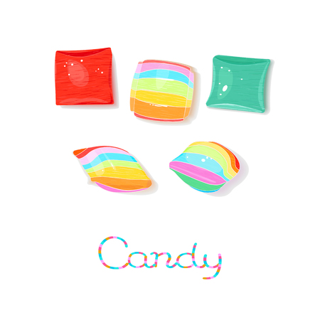 Rainbow colored pillow candies isolated on white background Illustration