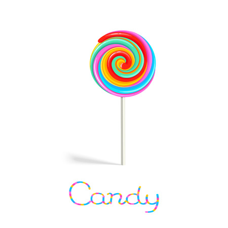 Rainbow lollipop candy on the stick isolated on white background Illustration