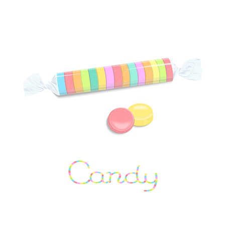 Rainbow colored roll candies in transparancy pack isolated on white background