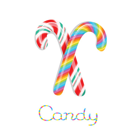 Rainbow colored and christmas colored candy canes isolated on white background