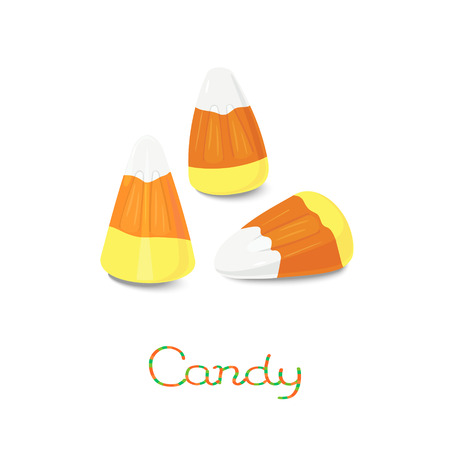yellow corn: White, orange, yellow candy corn on the stick isolated on white background Illustration