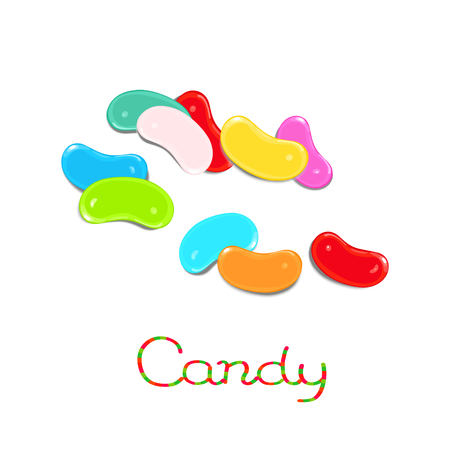 Rainbowed scattered jelly bean candies isolated on white background Illustration