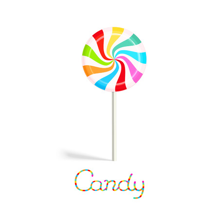 Rainbow peppermint candy on the stick isolated on white background