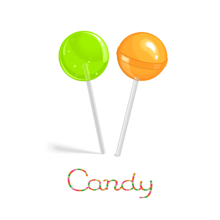 Green transparance and orange glossy lollipops on the stick isolated on white background Illustration