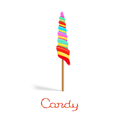 Rainbow unicorn twist candy on the stick isolated on white background Hình minh hoạ