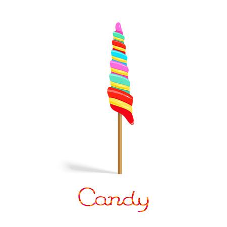 Rainbow unicorn twist candy on the stick isolated on white background Illustration