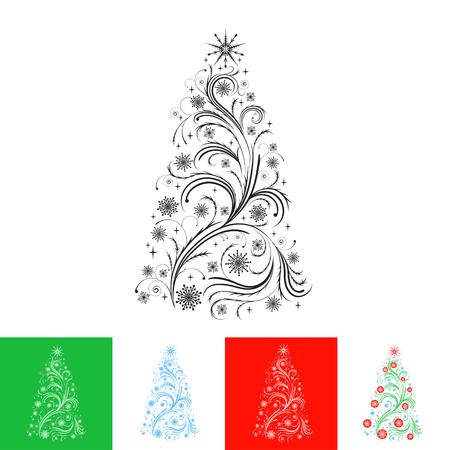 Abstract swirl Christmas tree on different backgrounds in different colors